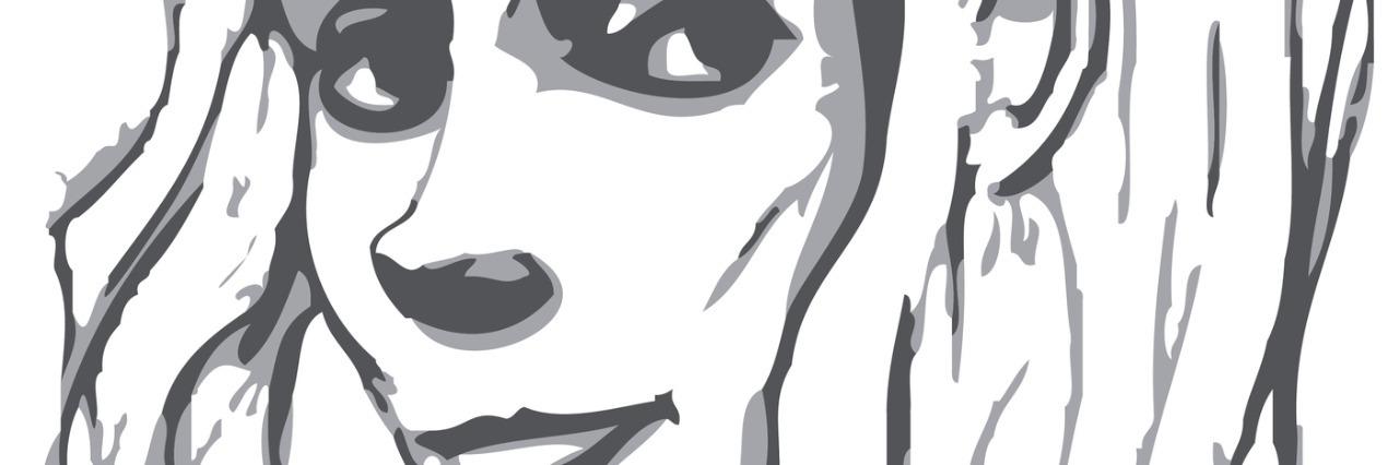 Hand-drawn woman portrait. Pancil sketch imitation in vector.