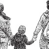 Illustration of two women holding a boy's hands as they walk