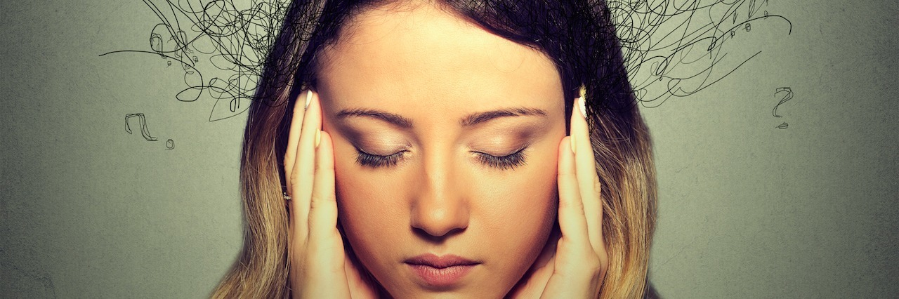 woman with lines coming out of her head that represent thoughts