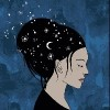 woman with the night sky drawn in her hair