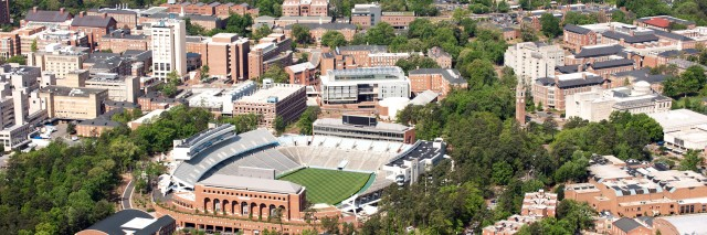 An aerial view of the University of North Carolina campus and surrounding area in Chapel Hill, North Carolina.