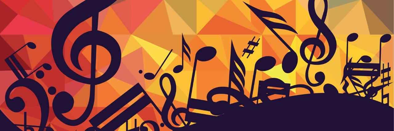 black music notes in front of colorful background