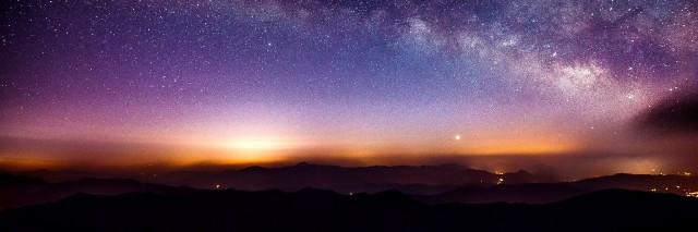 Milky Way Galaxy over Mountain at Night, Deogyusan mountain