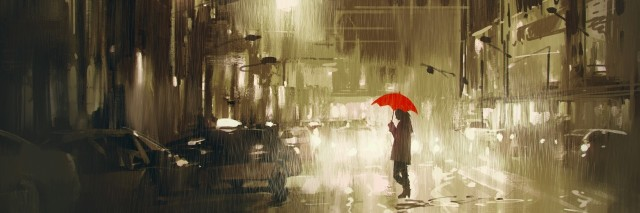 woman with red umbrella crossing the street,rainy night