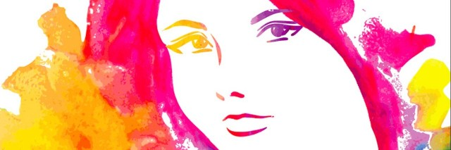Colorful illustration of woman's face