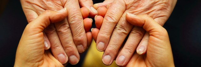 two people with hands