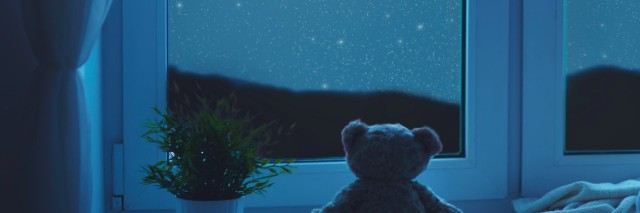 Stuffed bear at window facing moon and starry sky