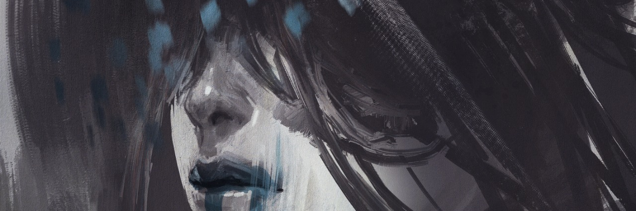 dark abstract image of a woman whose eyes are covered by her hair