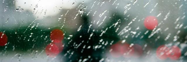 view of rain through a wet window