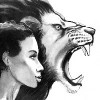 ink painting of an african woman and an angry lion