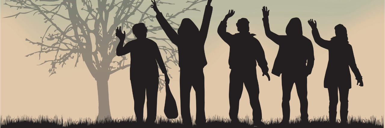 group of five people in silhouette waving