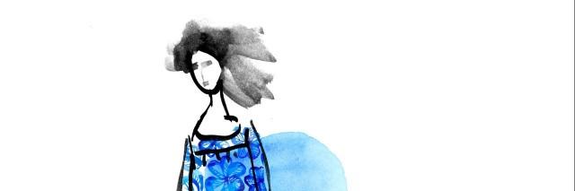 girl in blue meadow dress
