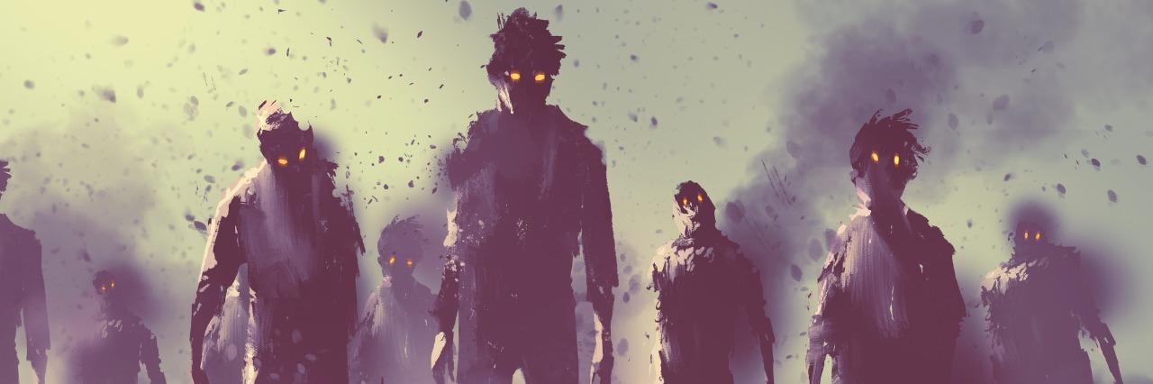digital drawing of zombies walking at night
