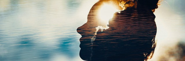 a reflection of a woman's head