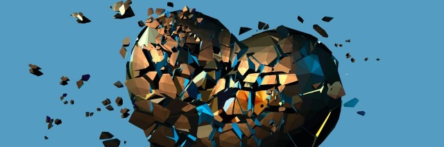 Golden metal polygonal broken heart on blue background