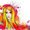 Young woman portrait with colorful splashes drawing