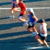 a group of people running