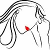 black outline on white background of woman rubbing head