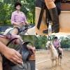 Cara riding a horse.