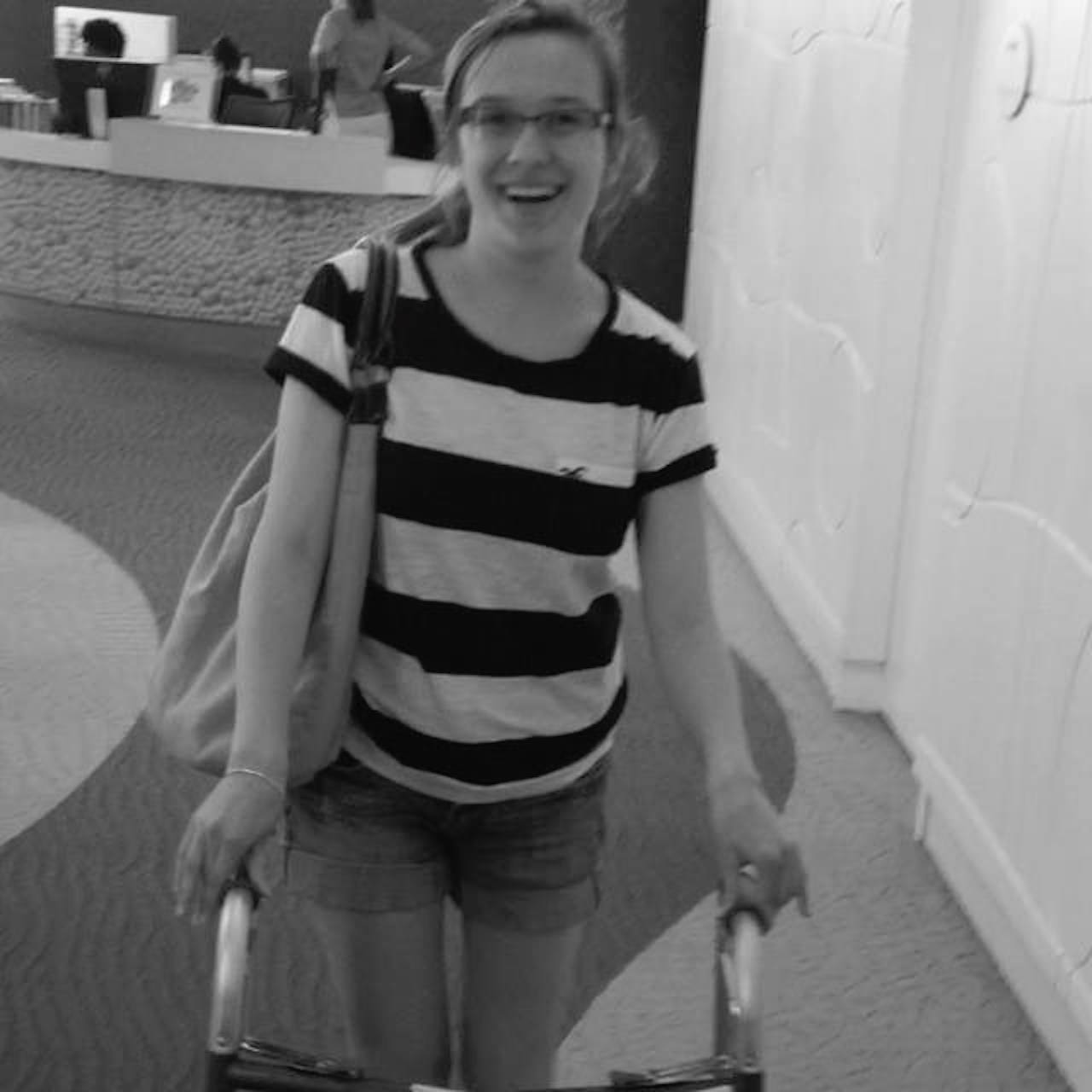woman with CP using a walker