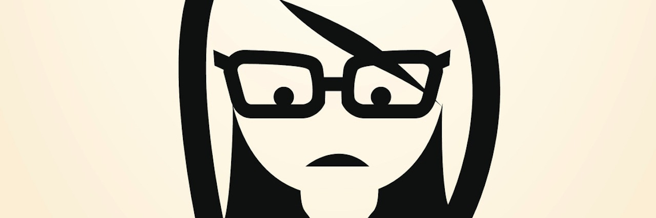 outline of girl with glasses looking downward, confused