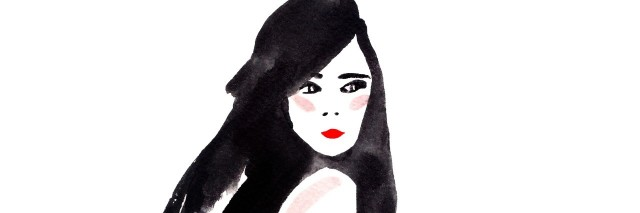 black and white watercolor of woman looking over shoulder
