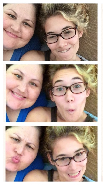 three photos of woman and teenage girl making silly faces