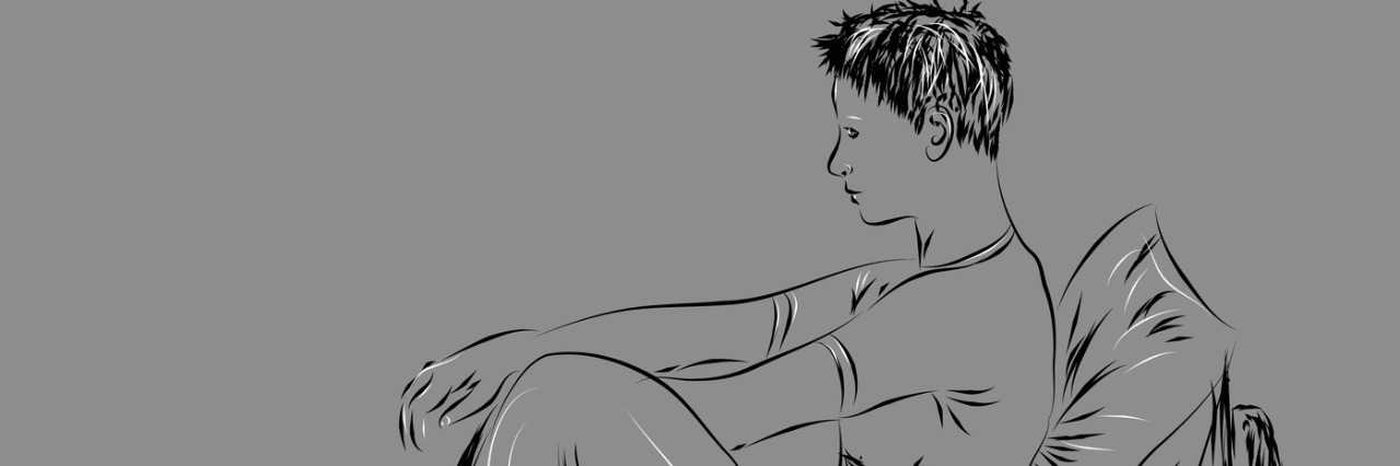 drawing on gray background of man sitting up in bed