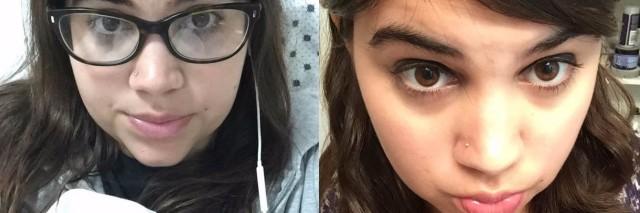 Ilana's hospital selfie next to Ilana's non-hospital selfie