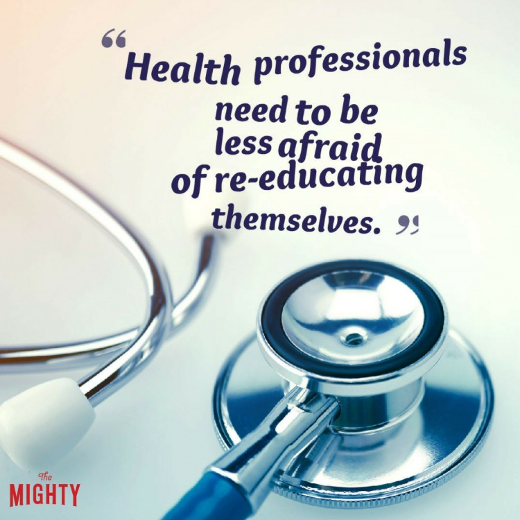stethoscope with quote health professionals need to be less afraid of re-educating themselves