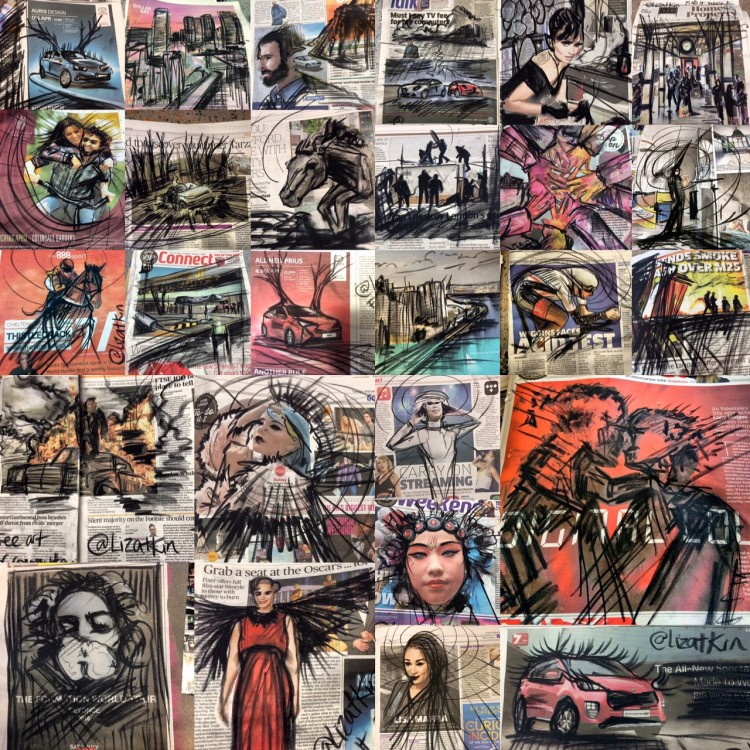 Collage of Atkin's subway charcoal work.