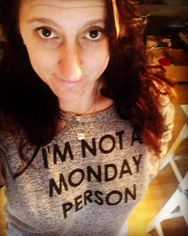 woman wearing shirt that says i am not a monday person