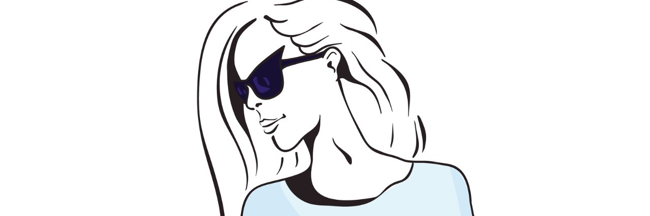 Sketch of a beautiful girl with long hair in sunglasses on a white background. Vector illustration