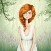 digital illustration of a ginger-haired girl walking through a beautiful forest