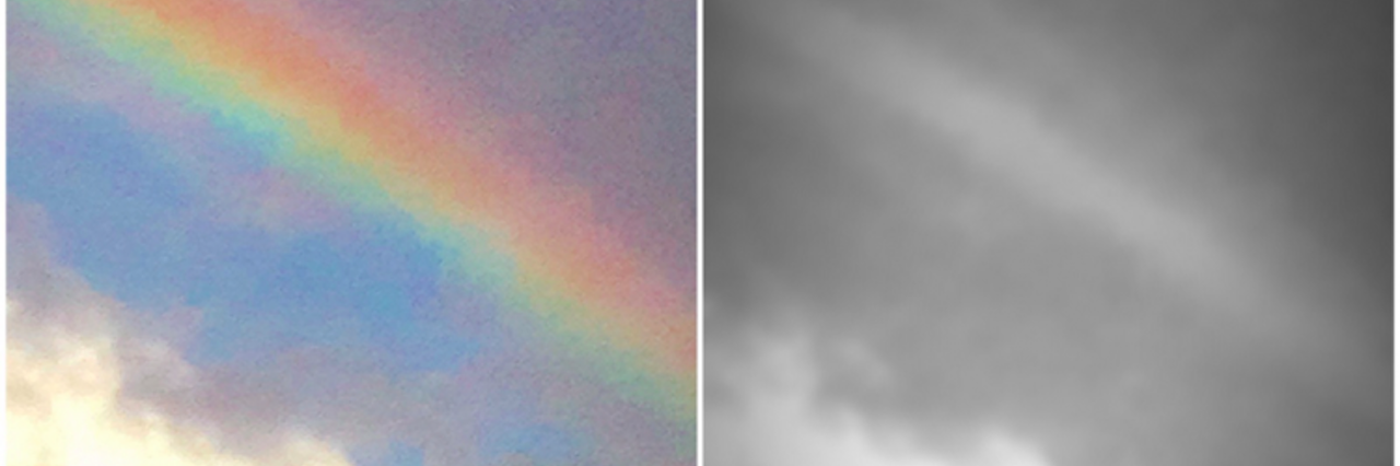 Two photos of a rainbow, one of colorful, the other is black and white