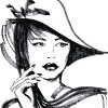 drawing of woman wearing hat