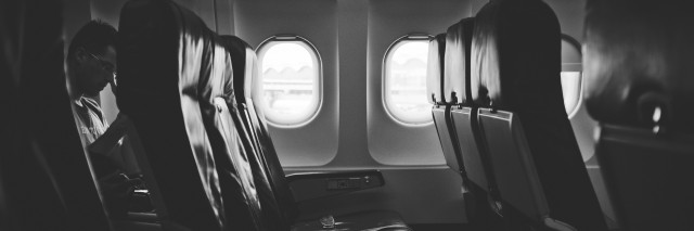 inside an airplane.