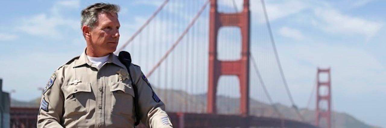 A police man on the Golden Gate Bridge