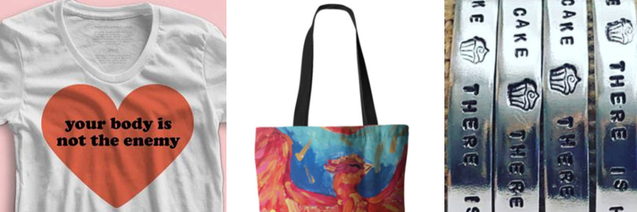 A t-shirt, a tote bag and a necklace
