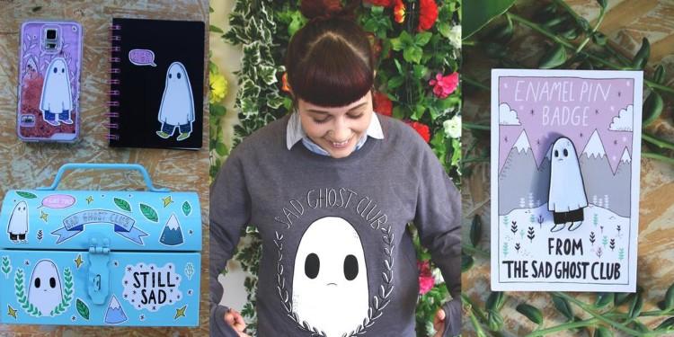 Wreath Sweatshirt, A5 Sticker Sheet, Sad Ghost Enamel Pin