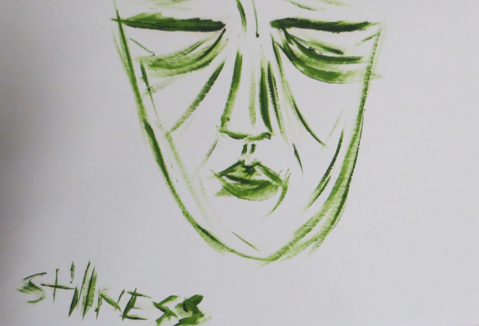 illustration of person's face with closed eyes and the word stillness underneath it