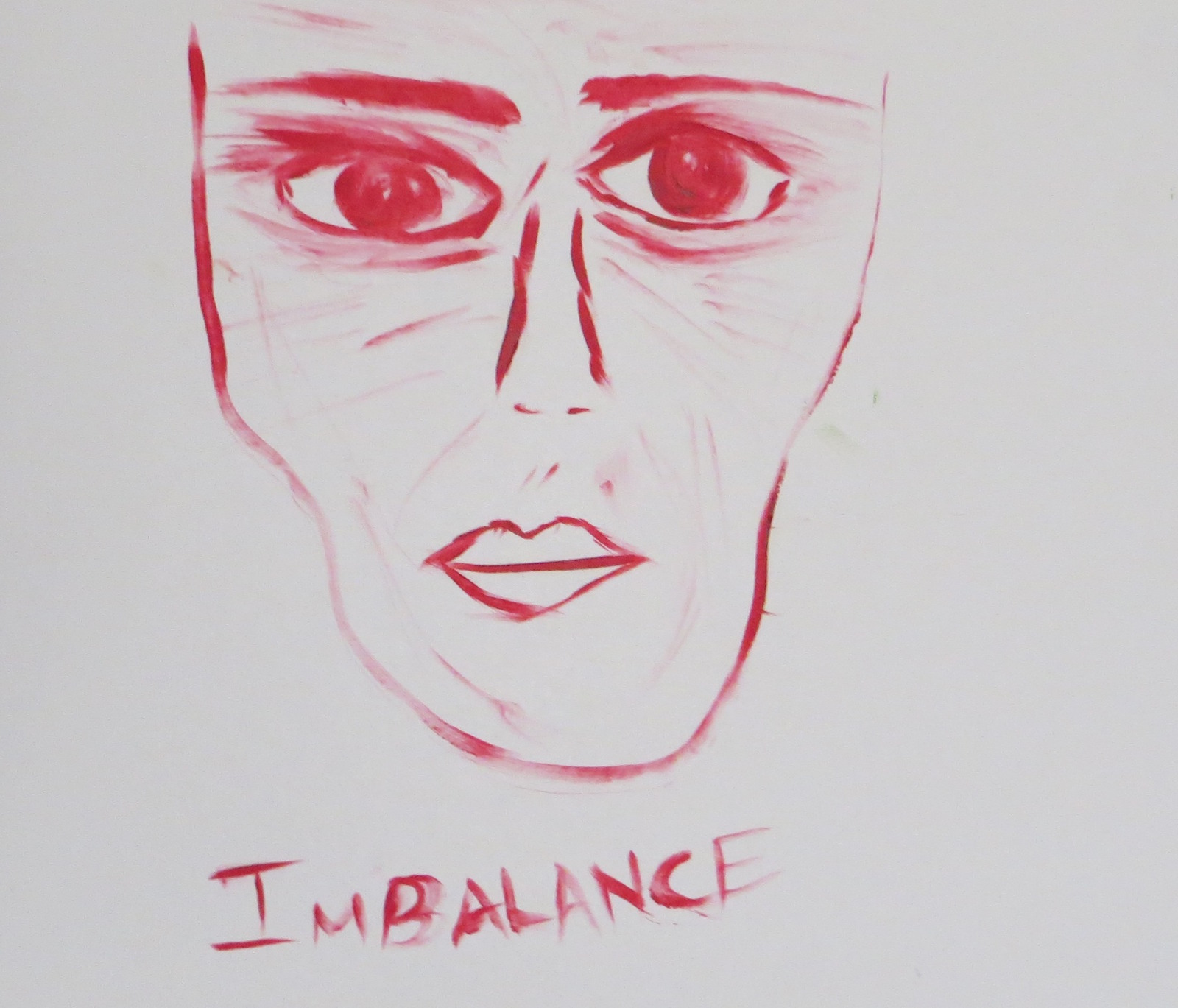 Illustration of person's face with the word imbalance underneath it