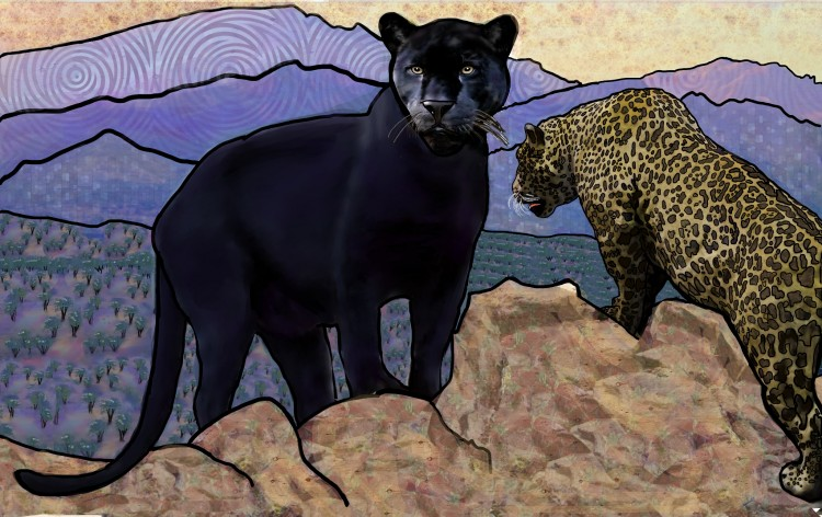 artwork of black jaguar and spotted jaguar