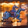 two white horses on a merry-go-round in motion