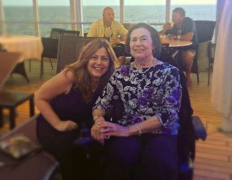 adult daughter and mom at restaurant on cruise ship