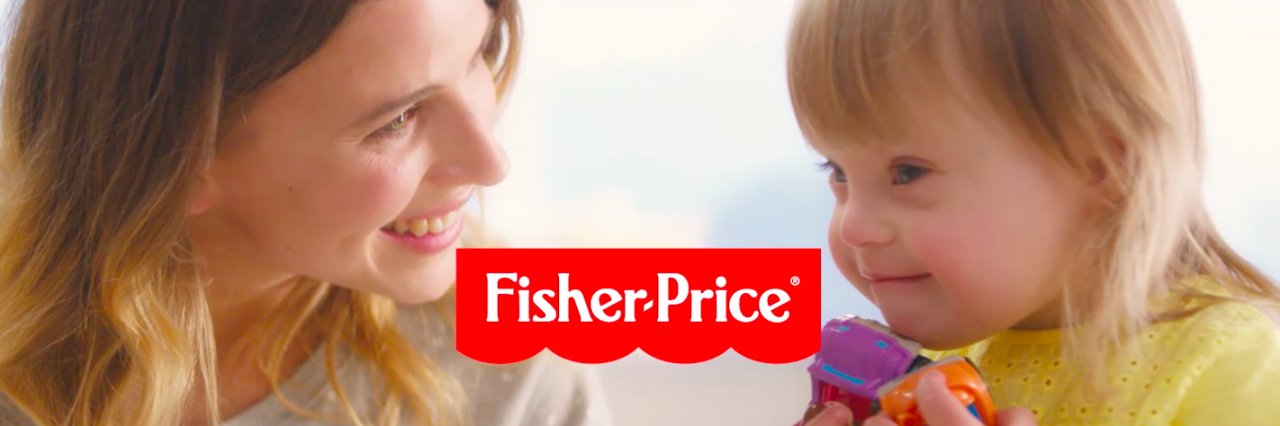 Screenshot of commercial with young girl with Down syndrome