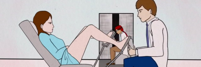 Animated still from Tightly Wound, doctor looks at a woman in stirrups.