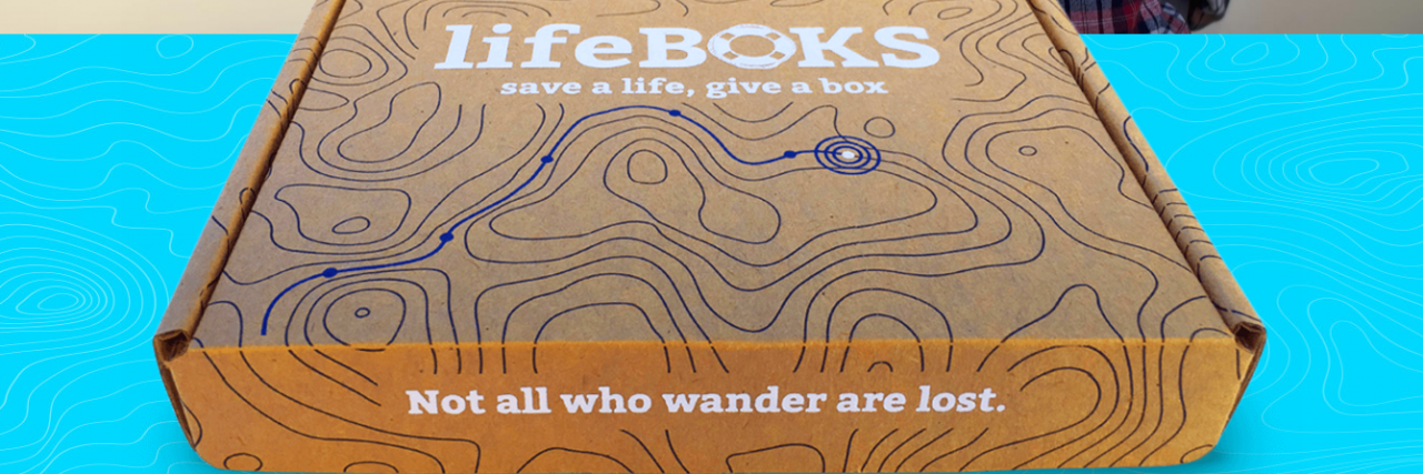 photo of a brown cardboard box which says lifeBOKS