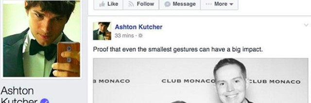 A screenshot of a post on Ashton Kutcher's Facebook page sharing Kerry Magro's story