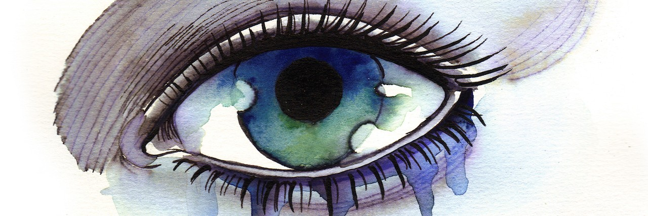 Watercolor sketch of a crying woman eye